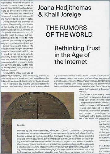 The Rumors of the World - Rethinking Trust in the Age of the Internet